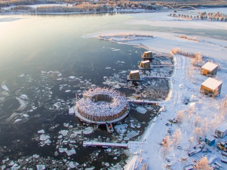 The floating spa hotel Arctic Bath near Harads, a small village on the Lule River in Swedish Lapland. Central to this ...