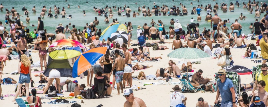 Social distancing becomes problematic on popular beaches.