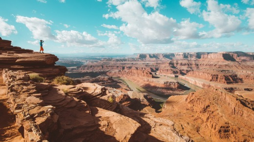 View over Colorado River and Canyonlands National Park in scenic Dead Horse Point State Park, Utah, US.