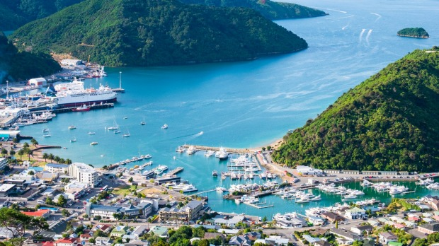 View of Picton, New Zealand.