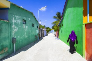 Colourful buildings in Male.