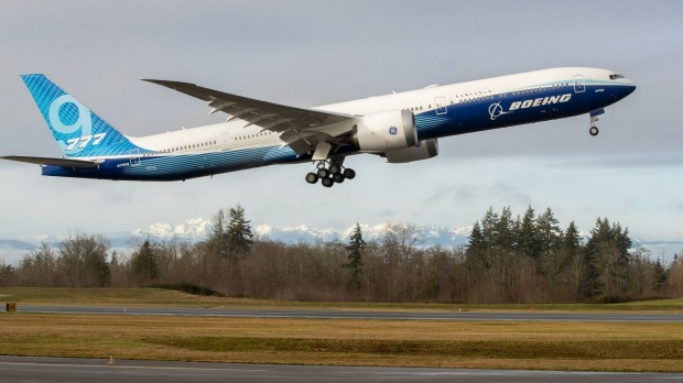 The Boeing 777X takes off on its inaugural flight from Paine Field in Everett, near Seattle.