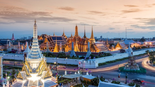 The Grand Palace and Wat Phra Kaew in Bangkok.