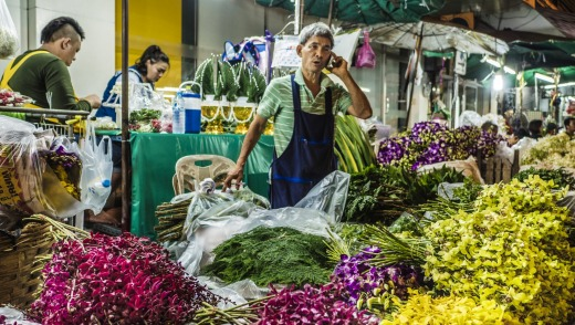 The Pak Khlong Talat flower market.