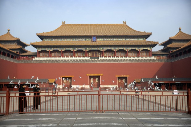 The closed gates at the entrance to the Forbidden City, normally crowded with tourists.