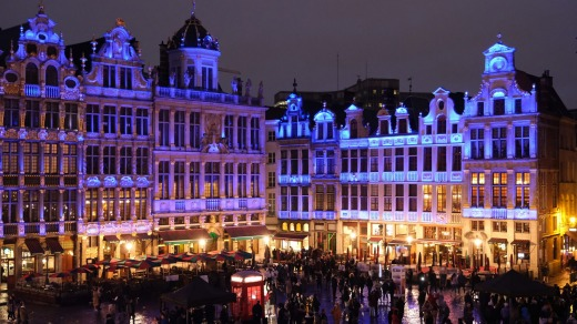Buildings on the Grand Place in Brussels pulsate with lights in the red, blue and white of the Union Jack during a ...