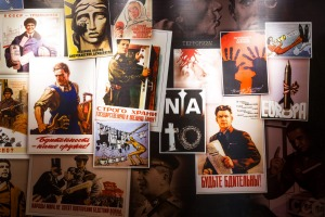 Propaganda posters on display at the Plokstine nuclear missile site.