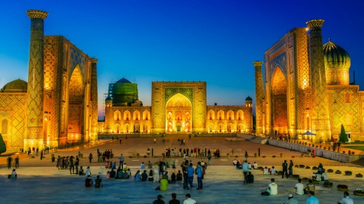 Registan, an old public square in Samarkand, Uzbekistan. Tourism is growing rapidly in central Asia.