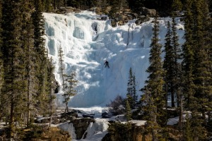 Intrepid climbers will climb frozen waterfalls in Jasper during winter.