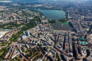 An aerial view of Hamburg.