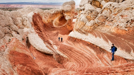 The remotely rugged White Pocket, 106 kilometres east of Kanab on Paria Plateau, calls for serious wilderness knowhow.