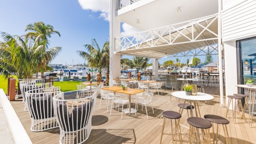Outdoor deck at Sails Port Macquarie by Rydges.