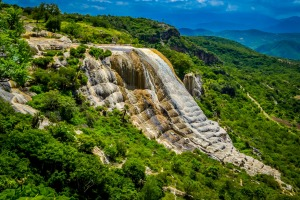 Hierve el Agua's natural rock formations are formed by freshwater springs saturated with calcium carbonate and other ...