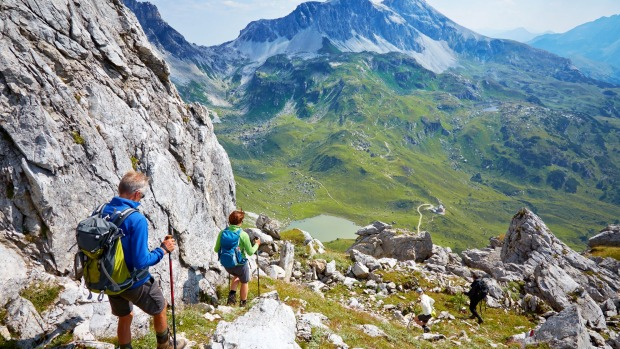 A group of hikers on tour in Austrian alps.