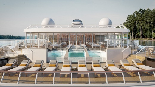 The planned terrace and infinity pool on board.