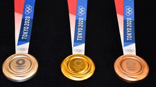 Designs of medals for 2020 Olympics.