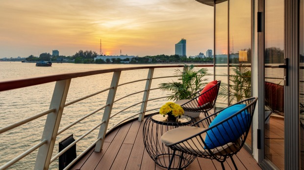A sunset view from a suite on Victoria Mekong.