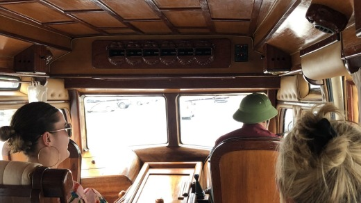 The Elephant Coach's wooden interior.