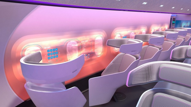 Airbus' designs for the interior of the Maveric blended wing plane.