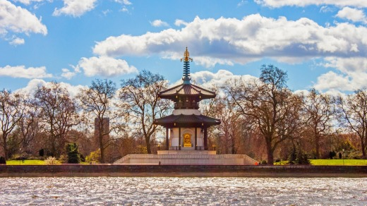 The peace pagoda in Battersea Park.