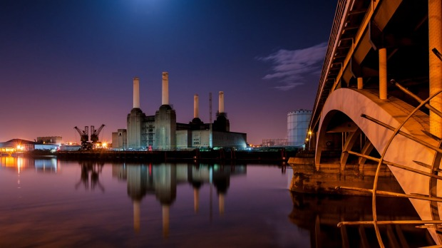 Looking across the River Thames from Chelsea to Battersea Power Station.