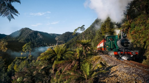 The West Coast Wilderness Railway, Tasmania, is a reconstruction of the Mount Lyell Mining and Railway Company railway ...