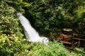 A hot tub built beside the waterfall at Nimmo Bay Wilderness Resort, an eco resort located in the southern Great Bear ...