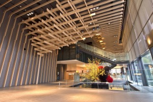 The design of the lattice-like, timber-clad lobby was intended to create a calm, elegant and distinctively Japanese ...