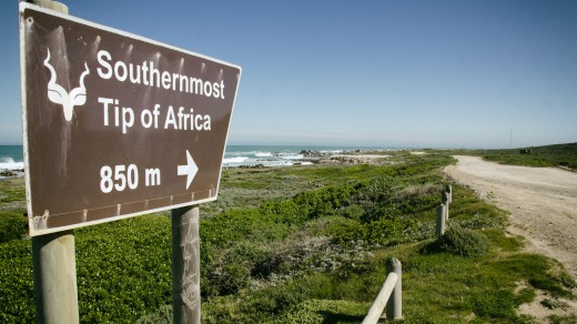 Signpst at Cape Agulhas, South Africa.
