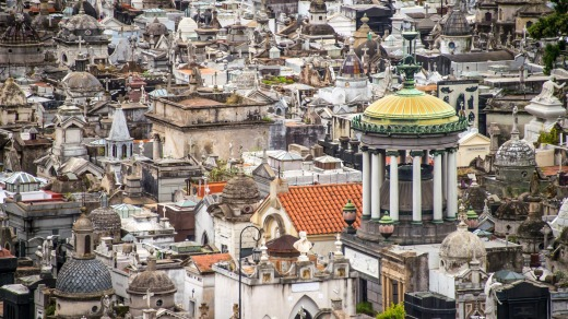 La Recoleta cemetery and its extravagant mausoleums.