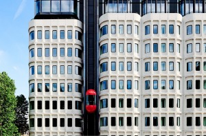 """Guests at The Standard can take """"the red pill"""" - an exterior lift that zooms up to the 10th floor - for 360-degree views ..."""