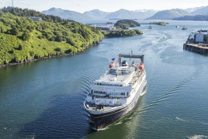 MV Tustumena arriving at Kodiak Island.