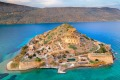 An aerial view of the island of Spinalonga in Crete, Greece.