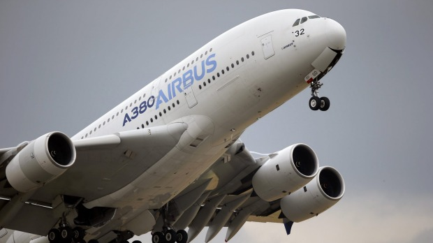 An Airbus A380 takes off for its demonstration flight at the Paris Air Show.