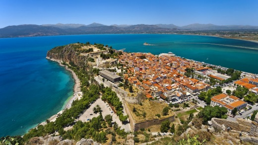 Ariel view over old town Nafplio.