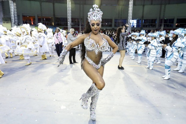 Queen of Percussion Ana Beatriz Godoi of Rosas de Ouro Samba School performs during the parade at Anhembi Sambadrome.