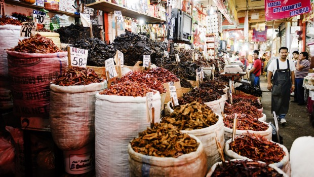 A stall specialising in dried chillies at the Mercado de la Merced in Mexico City.