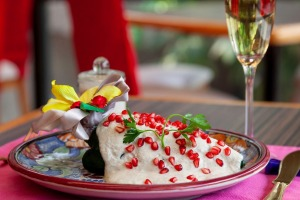 Chiles en nogada, a traditional festive dish, served at Azul's three restaurants in Mexico City, Mexico. The dish ...