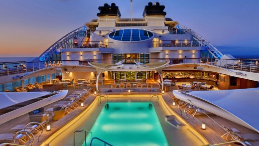 The pool deck of Seabourn Encore.