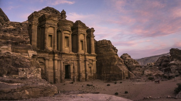 The magnificent monastery located on the top of Petra, at sunset.