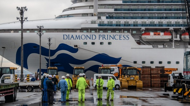 On the Diamond Princess, the bow-to-stern disinfection hasn't started yet.