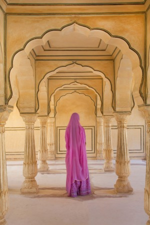 A saried princess stalks the audience hall at Amber Fort, Jaipur.
