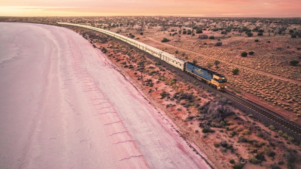 The Indian Pacific passing Lake Hart, a dry salt pan north of Woomera in South Australia.