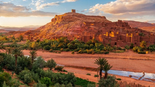 Sunset over Ait Benhaddou, an ancient city in Morocco.