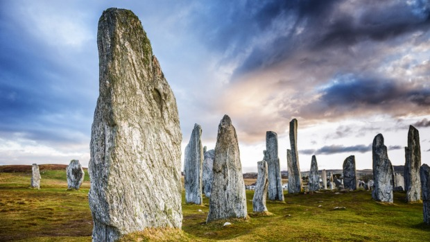 The ancient standing stones of Callanish on Lewis in the Outer Hebrides of Scotland.
