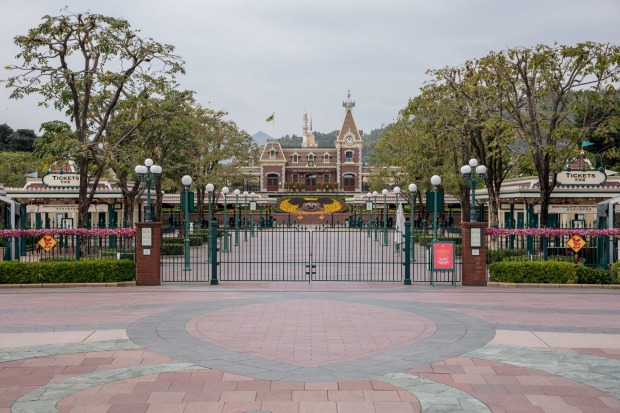 A gate is locked shut at the Disneyland Resort in Hong Kong.