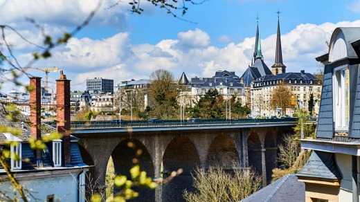 The Passerelle Bridge and steeples of Notre Dame Cathedral, Luxembourg.