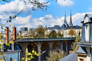 Picturesque Luxembourg city. Passerelle Bridge and steeples of Notre Dame Cathedral. Luxembourg, Western Europe