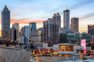 Sunrise over Downtown Atlanta featuring the Center for Civil and Human Rights, World of Coca-Cola, Pemberton Place, and ...