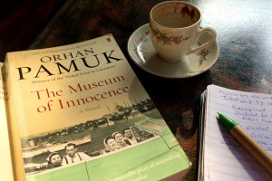 Reading Orhan Pamuk over a Turkish coffee after visiting the museum.